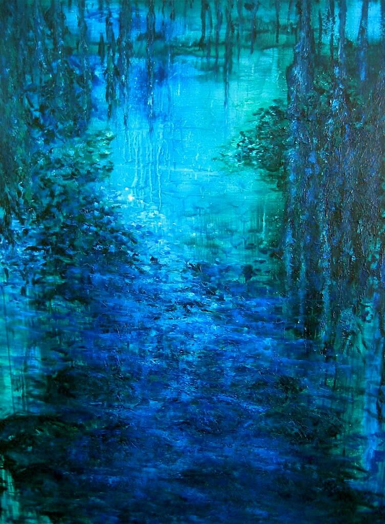 Cerulean Moire, oil on canvas 60 x 72