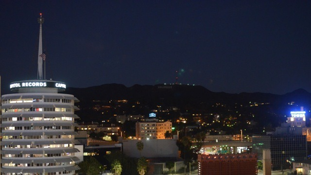 View of Hollywood sign and Capitol Records