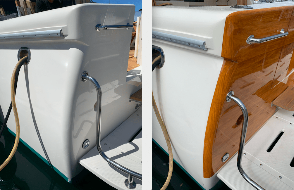 Mikelson before and after faux wood transom painted in the slip!